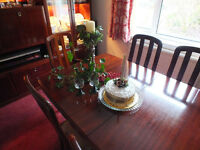 Dining room table, 6 chairs, wall unit and coffee table