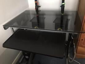 Black Glass Computer Office Desk With Keyboard Tray