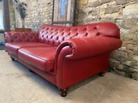 Barker and Stonehouse leather red CHESTERFIELD 3 seater SOFA