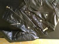 Girls age 8-9 black H&M biker jacket
