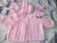 HAND KNITTED BABY MATINEE SETS COAT HELMET/BONNET BOOTIES & MITTENS