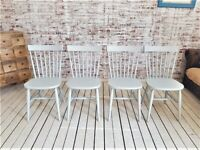 Spindle Back Painted Kitchen Dining Chairs Any Farrow & Ball Rustic Mid-Century Modern Living