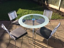 Good quality glass & chrome kitchen/dining table with 4 chairs