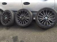 Ford Focus st rs alloys - 225 40 zr18 - 18 inch rs wheels. 2 tyres new. 2 tyres part warn. £350