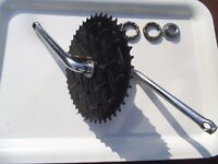 Bmx chrome crank with Manhole chainwheel - Suit 80's Raleigh Burner - rare with bearings - bargain