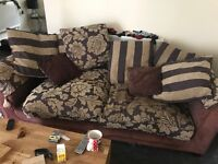 Sofa ok condition brown and gold 3 and a 2 seater call 07517332592 can deliver for cost £50