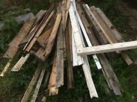 FREE Firewood & concrete SLABS & cast iron FIREPLACE & decorative SPINDLES.