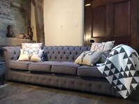 Stunning 4 seater linen Chesterfield Sofa. Dove grey.