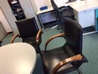 office furniture quality 4 real leather meeting chairs