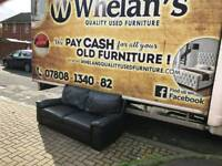 2 seater sofa in black leather MINT MINT CONDITION