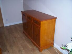 Yew Wood Sideboard and Corner Cabinet