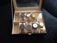 Collection of 7 watches in collectors box