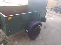 A good well made hard wood car trailer new tyres rear lights