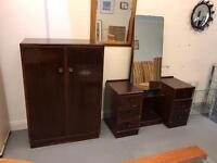 Vintage gentlemen wardrobe and matching dresser sold together or separately