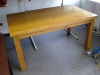 Solid Heavy Wooden Dining Table. Solid Hardwood Light Oak