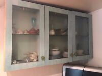 Custom Made Wall Mounted Cabinet w/Glass Doors and Shelves
