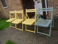 4 WOODEN FOLDING GARDEN CHAIRS