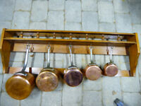 Genuine vintage French copper saucepans with hanging rack/shelf