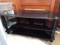 Tempered glass TV stand (3 tiered in black) like new