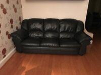 3 & 2 Seater Black Leather Sofa