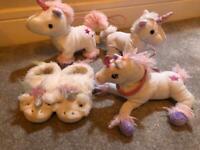 Unicorn Slippers from Next size 10 + Unicorn Toys Bundle