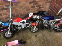 Wanted mini moto's quads or parts