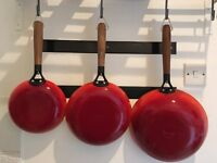 Gorgeous Red Cast Iron Frying Pan Wok Set of 3 Cooking Wooden Vintage Look