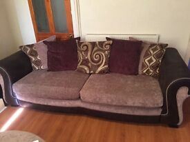 3 Seater Sofa + Swivel Chair with Foot Stool. 2Yrs old, in good condition
