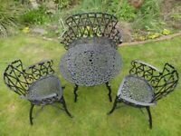 VINTAGE GARDEN FURNITURE SET - TABLE , 2 CHAIRS AND A BENCH -