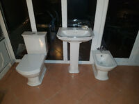 Vitra Serenada toilet, Sink basin with pedestal and Bidet bathroom suite