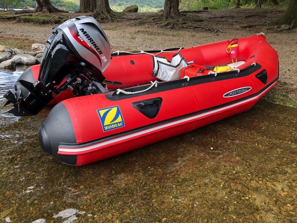 Zodiac Futura Inflatable boat rib sib 4 Stroke 25hp efi outboard   in  Carnforth, Lancashire   Gumtree
