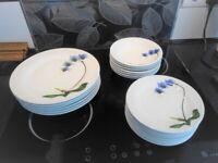 DINNER SET,6x plates,7x bowls,8x sandwich plates,CROCKERY SERVICE,white floral,BRISTOL