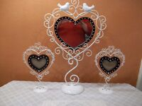 VINTAGE STYLE HEART SHAPED MIRROR AND PICTURE FRAMES