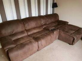 Suite brown suede 3 seater with chez long and media unit and 2 seater sofa