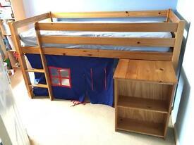 Cabin bed, solid pine, desk & den