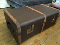 Steamer Travel Trunk Coffee Table Storage