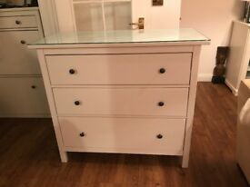 IKEA CHEST OF DRAWERS & GLASS TOP. £70