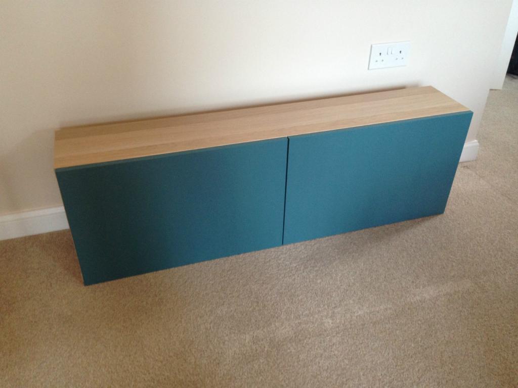 Ikea Besta Shelf Unit, 120cm x 38 x 20, white stained oak, with two ...