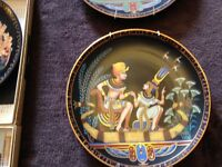 Collection of 9 Pharaoh Osiris porcelain plates