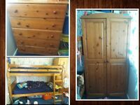 Pine Furniture - Wardrobe, Bunk Beds, Large Chest of Drawers - Bedroom Set, Shabby Chic?