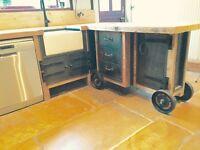 Freestanding industrial style kitchen run