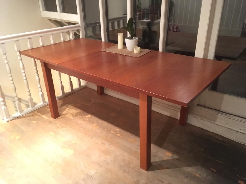 Beautiful sturdy extendable IKEA BJURSTA oak dining table in