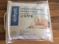 BRAND NEW UNOPENED FABRIC WATERPROOF/BREATHABLE COT/TODDLER MATTRESS PROTECTOR