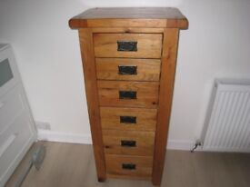solid oak tall 6 drawer chest