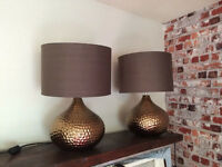 2 beautiful large table lamps, 40cm wide shade
