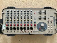 "Soundcraft 1000 watt stereo powered mixer plus 10"" Yamaha AX10 passive speakers."