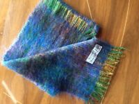 Vintage Mohair Wool Multicolour Scarf Made In Scotland Rave Hipster Twee 80s 60s