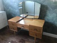 VINTAGE teak Meredew dressing Table with drawers - triple mirror