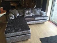 Brand new ex display crush velvet sofa