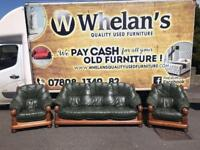 3,1,1 seater sofa in a thick leather Hyde sitting on a heavy oak wood frame £250